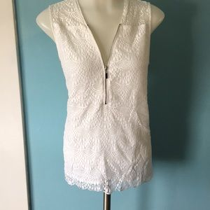 Zip front sleeveless lace top